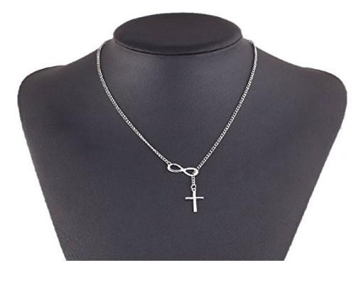 Chokers Cross Lucky 8 은색으로 채워진 최고의 친구 Infinity Charm Lariat Statement Necklides 펜던트 합금 목걸이