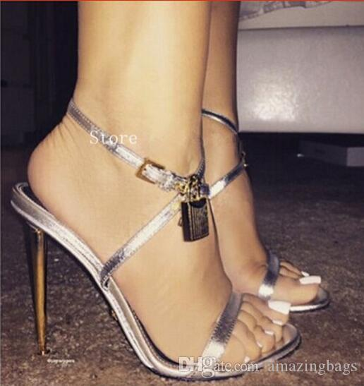 Hot Lock Decor Women Concise Gladiator Sandals Woman Fashion High Heels Women Shoes Woman Pumps Wedding Party Sandalias Mujer