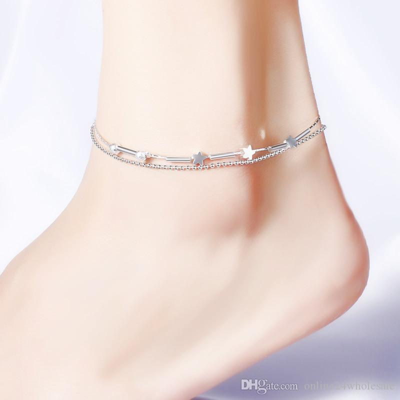 Double-layer Anklets For Women Girls Foot Bracelets Chain Sterling Silver Plated Jewelry Leg Bracelet Women Beach Barefoot Jewelry Gift