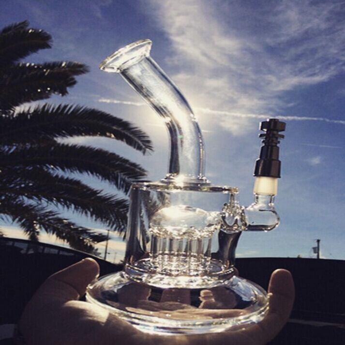 TORO GLASS ART Neue 8-Arm-Perkolator-Bongs-Ölbohrinsel-Ölflecken tupft Glasbong-Recycler-Wasserrohr mit Titan-Nagel