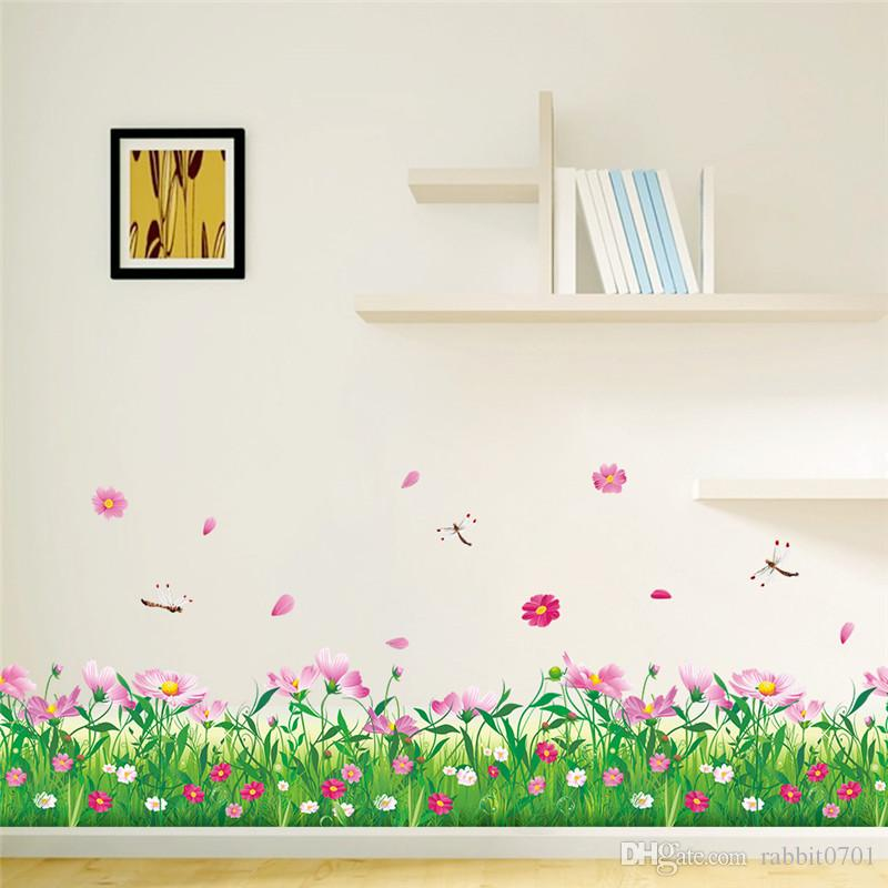 Diy Nature Colorful Flowers Grass Wall Sticker Home Decor - Wall decals grass