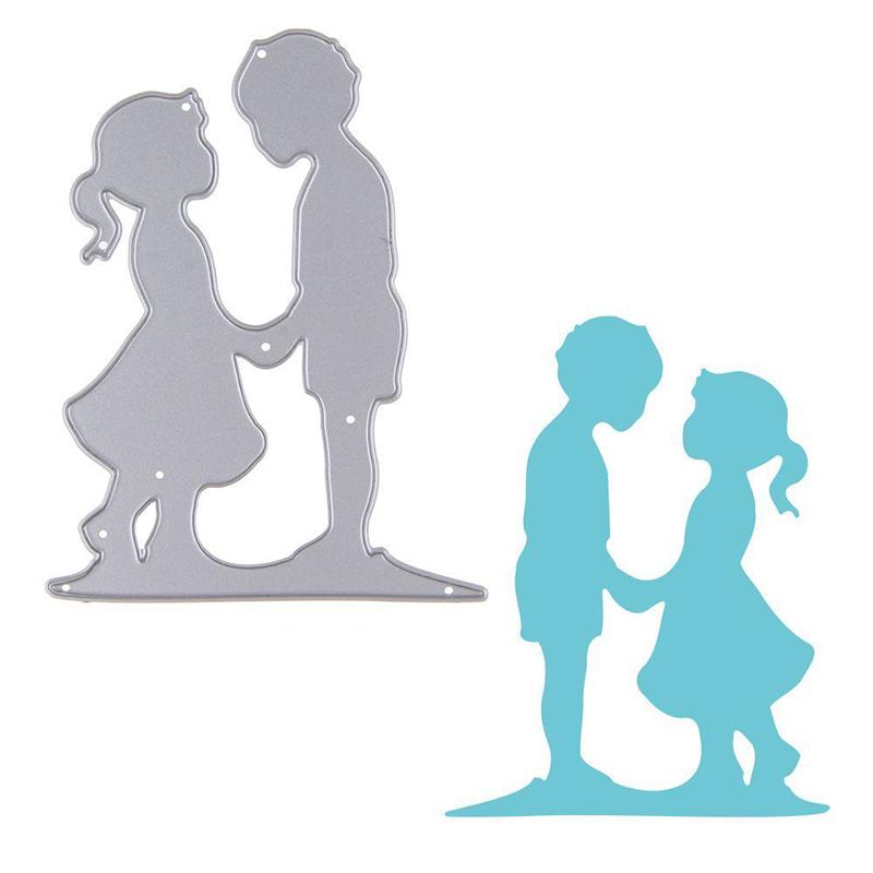 2019 Lovely Boy Girl Face To Face Cutting Dies Stencil For Diy