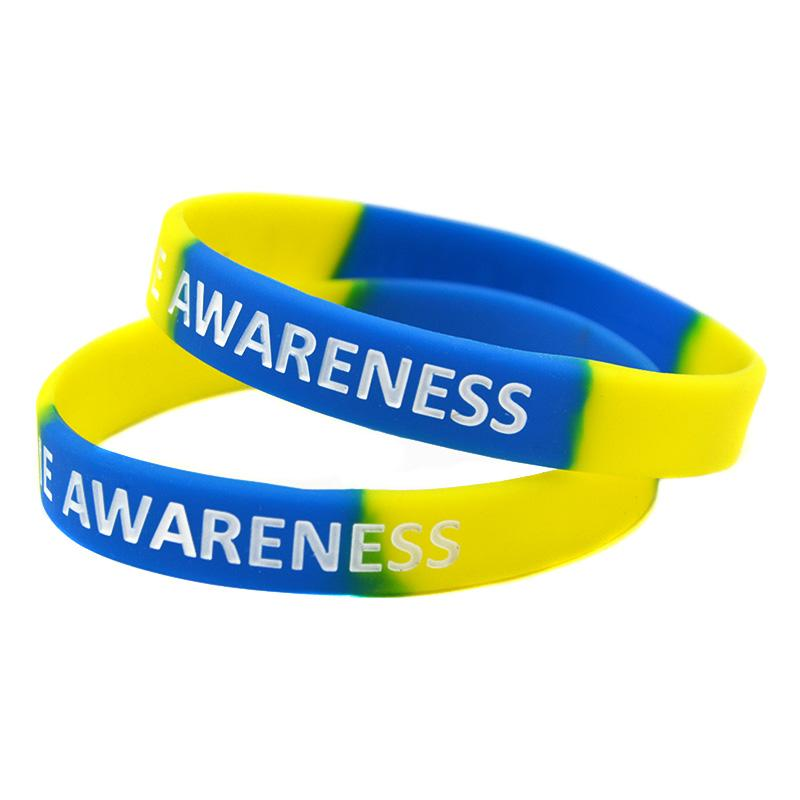 Down Syndrome Awareness Silicone Rubber Wristband Great For Daily Reminder By Wearing This Colourful Bracelet