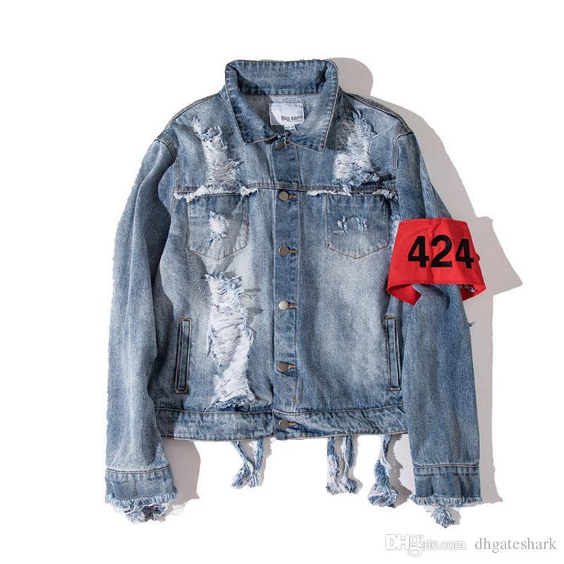 Newest Oversize Denim Biker Jacket For Men Washed Ripped Jean ...