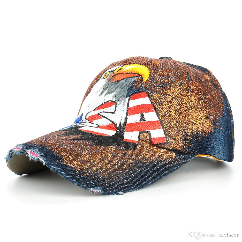 2d08f090d13 JOYMAY Brand For Man And Woman New American Flag Painted Eagle Baseball  Caps Washed Cowboy Fashion Peaked Cap B477 Custom Baseball Hats Army Hats  From ...
