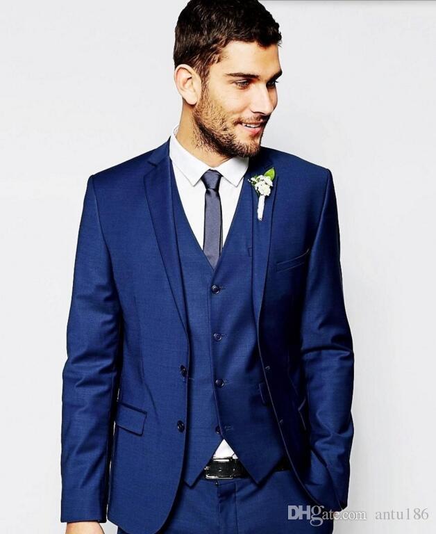 Son erkekler takım elbise Yakışıklı Damat smokin tek göğüslü Çentikli Yaka Damat Smokin İyi Adam Suits Ceket + Pantolon + yelek