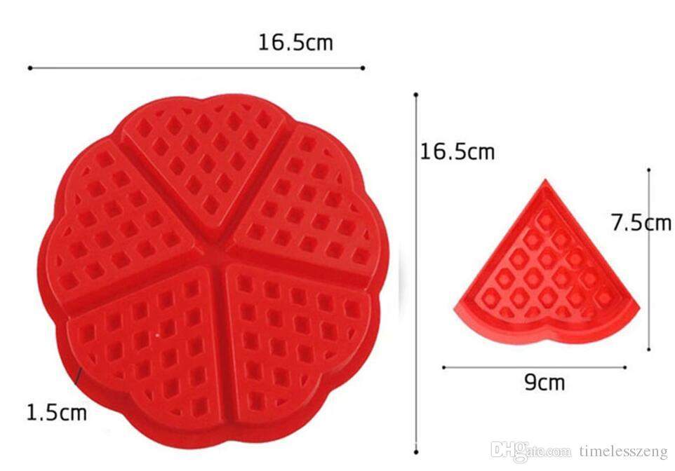 Heart Shape Waffle Mold Maker 5-Cavity Silicone Oven Pan Microwave Baking Cookie Cake Muffin Cooking Tools