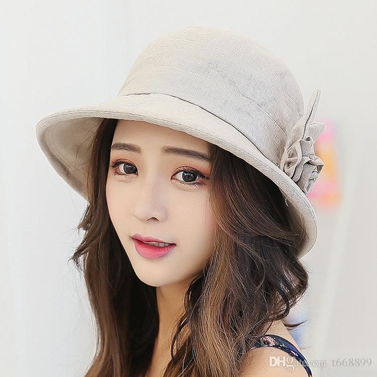 Ms han edición boutique de algodón gorra de paño primavera bromista moda tapa flores protector solar pescador sombrero sol y animado se ve muy joven