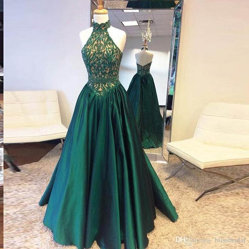Goddess High Neck Dark Green Prom Dresses Lace Top And