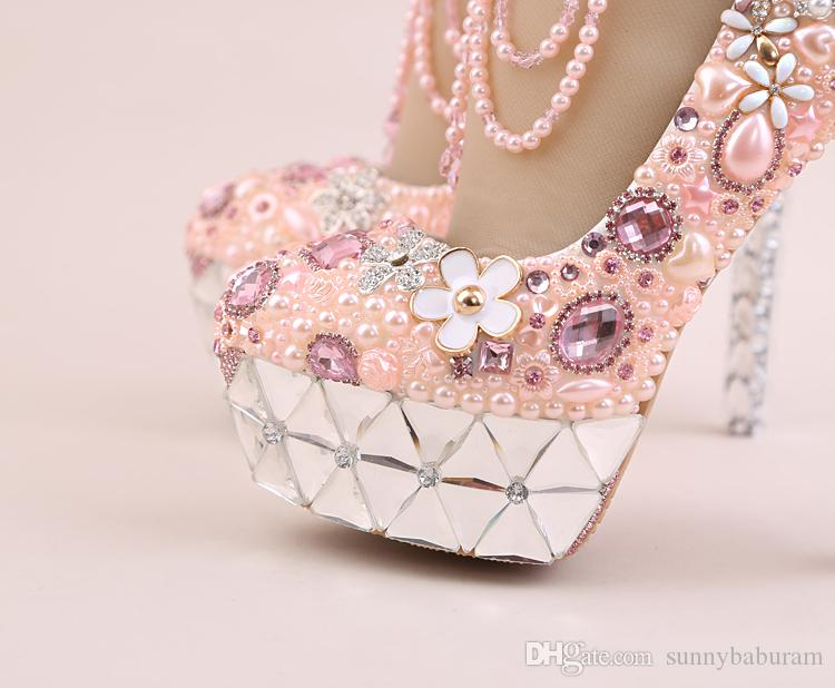 Pink White Women Pumps Crystal Bridal Bridesmaid Wedding Shoes with Pearls Buckle Straps Prom Evening Night Club Party High Heels 12 14CM