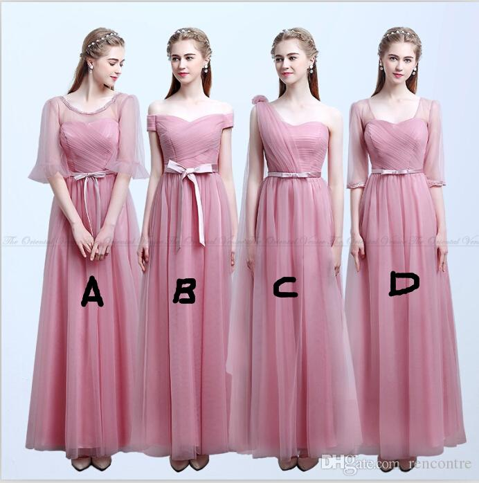 Modest Blush Pink Bridesmaid Dresses With Sleeves Off Shoulder Floor ...