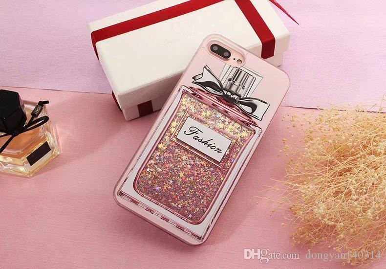 Para iPhone 7 7 plus 6s 6 plus Estuche para botellas de perfume de lujo Paillette Líquido que fluye Estuche para teléfono Anti-Knock PC + TPU Protección Contraportada Casos