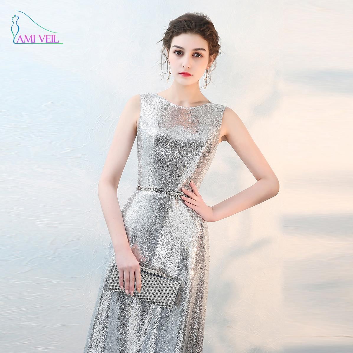 Sequin Silver Evening Dresses Long With Belts Sleeveless Prom ...
