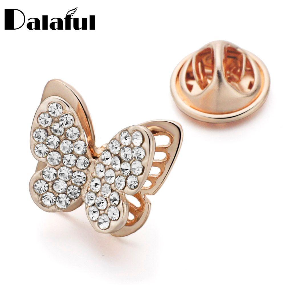Dalaful Butterfly Collar Brooch Pin Rhinestone Crystal Garment Accessories  Jewelry Dress Hats Suit Clips Lapel Mini Pins Z030 Brooches Pins Wholesale  ... 9b19f7e92a5d