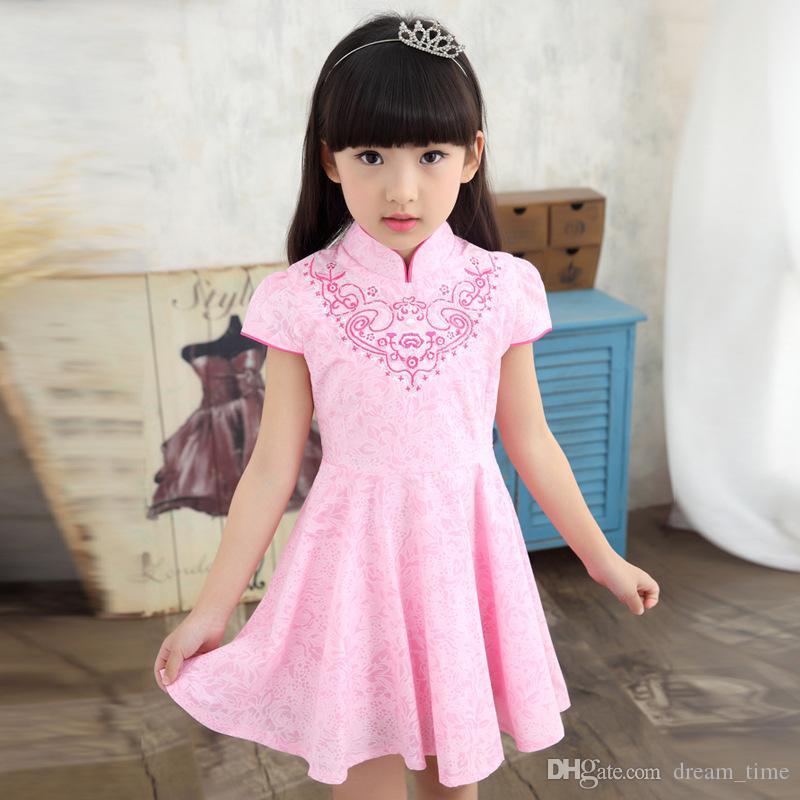 La muchacha de flor clásica del estilo chino del verano 2017 del resorte viste los vestidos de partido de la muchacha de los niños de los vestidos ...