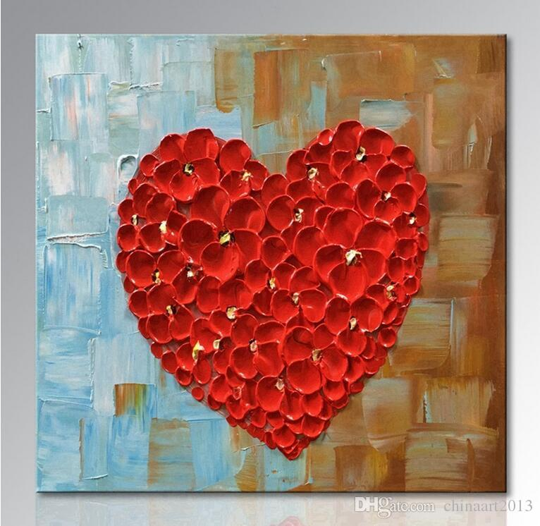 Unframed Hand Painted Red Heart Oil Painting On Canvas Abstract Wall Art Home Decoration For Living Room Bedroom Dining