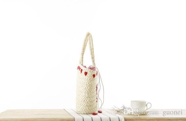 2017 핫 새로운 한국어 자수 여성의 손 가방 대형 짚으로 어깨 가방 패션 플라밍고 비치 가방 빅 토트 가방을 짠