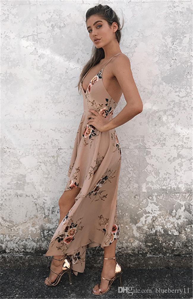 Mode böhmischen Sommer sexy tiefem V-Ausschnitt langen Maxikleid Blumendruck beiläufigen losen ärmellosen eleganten Boho Strandkleid weiße Frauenkleidung