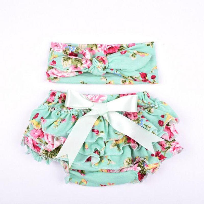 Wholesale Knit Cotton Floral Baby Girls Bloomer Set Green Ruffle Newborn Diaper Cover matching Headband Set Baby Shorties