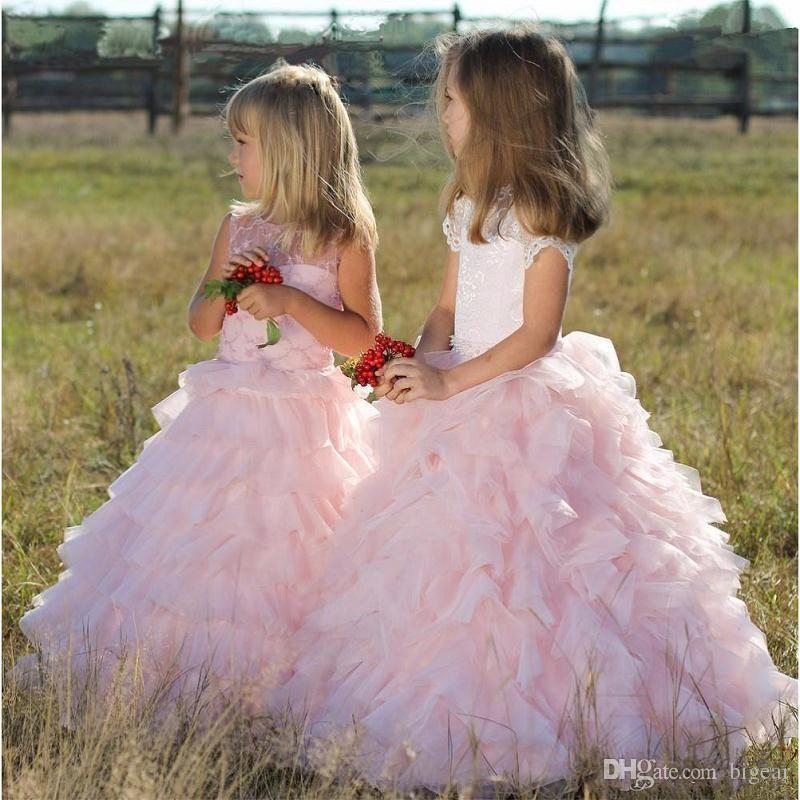 Vestido de menina em camadas rosa vestido de flores pageant com mangas curtas