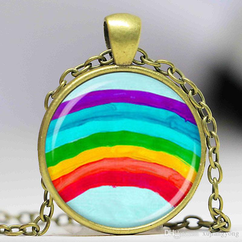 in pendant enamel necklace multi rainbow evan lyst jewelry diamond sydney metallic