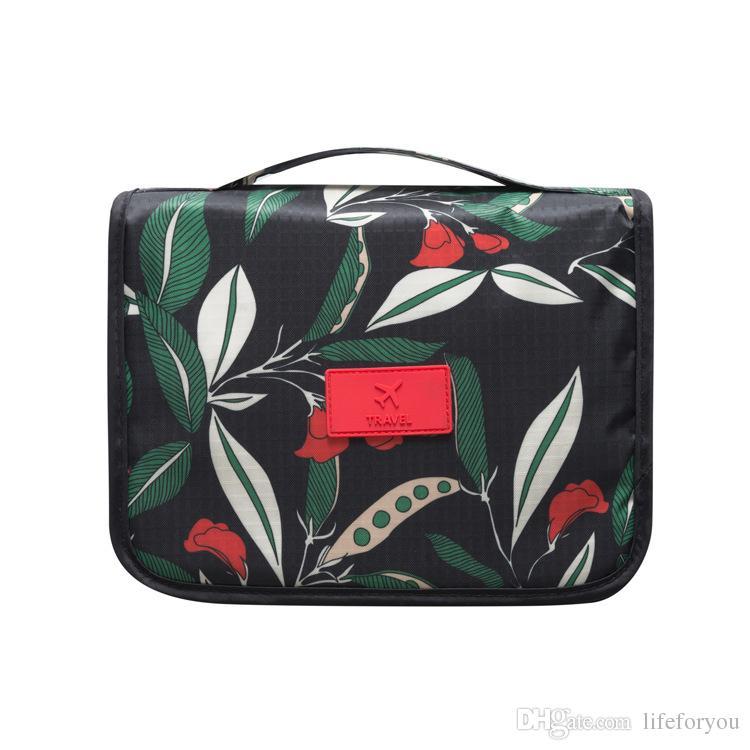 가방 메이크업 나일론 여행 가방 화장실 화장품 가방 꽃 여행 액세서리 다기능 휴대용 저장 가방 방수 세차 조직