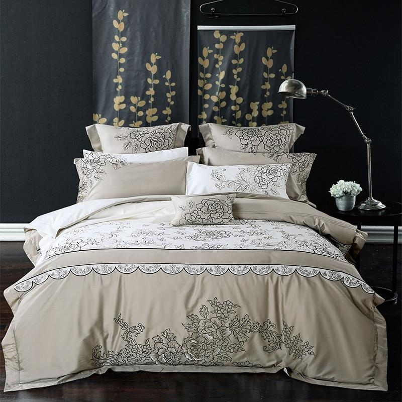 Luxury Top Quality Satin Bedding Set European Style Egyptian Cotton Silk  Mixed Fabric Embroidery Bed Linen Queen King Size Silver Bedding Queen  Bedding From ...
