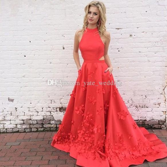 サンゴの赤い背中の後退のウエディングのドレス2017魅力的なハイネックカットス側手作りの花びら長い帰宅の服装の服装