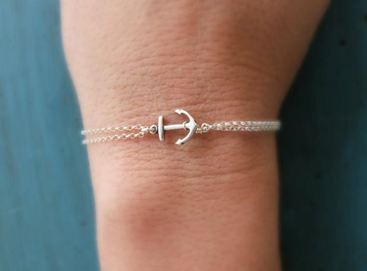 Nya snygga Simple Fashion Smycken Armband Vintage Retro Anchors Armband för Kvinnor Två Färg Guld Och Silver Sh032