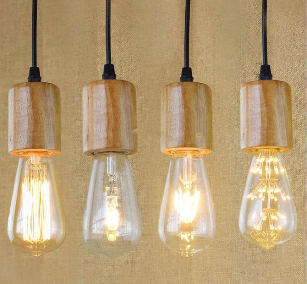 Bare Bulb Hanging Pendant Lights 2 hanging Lamp Base E27 Vintage Retro Edison Lamp Base wood Holder Pendant  Bulb Light Screw Socket E27 E26 art decoration pendant wire holders