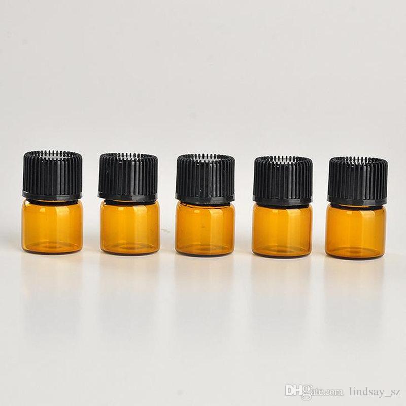 1 ml 1/4 dram Âmbar Garrafa De Óleo Essencial De Vidro Tubos de amostra de perfume Garrafa com Plug and caps transporte rápido