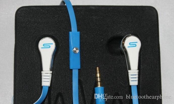 Um 50 Cent In-Ear-Qualität Sound Ohrhörer Kopfhörer Ohrhörer flach 3,5 mm mit Mikrofon Mikrofon und Mute-Taste für iPhone Samsung