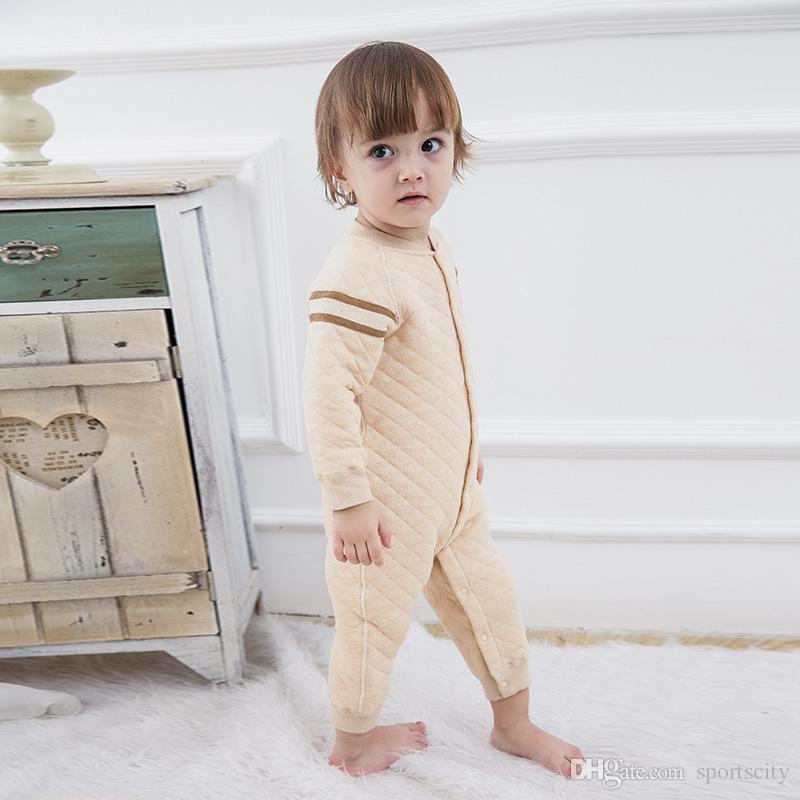 2017 nouvelle arrivée top qualité vêtements pour enfants bébé barboteuses hiver clip en coton chaud à manches longues escalade mâle bébé vêtements siamois