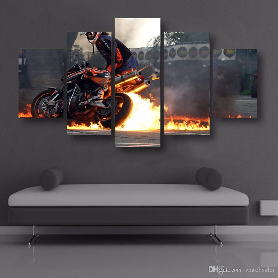HD Printed Fire on the motorcycle Painting Canvas Print room decor print poster picture canvas oil paintings black and white