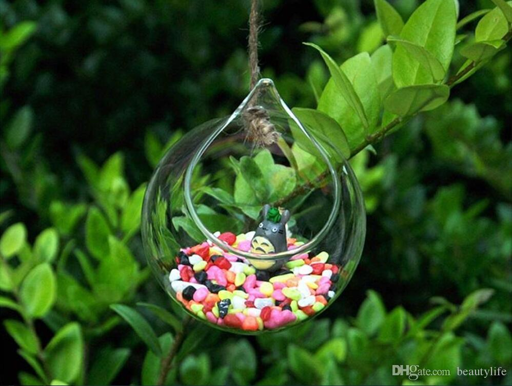 شمعدان الإبداعية الجديدة شنقا الزجاج زهرية كروية زهرية شفافة المياه الزخرفية الخوخ زهرة الزفاف المنزل 8 سنتيمتر 10 سنتيمتر 12 سنتيمتر
