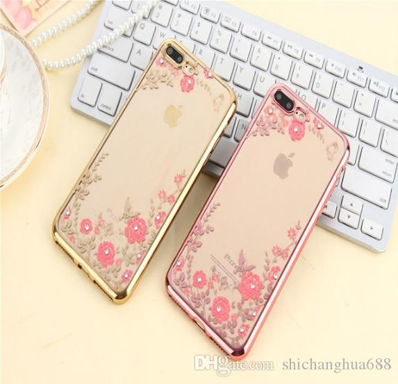 For Samsung Galaxy S4 S5 S6 S6 edge S7 S7 Phone Cover Secret Garden Soft TPU Electroplated Diamond Shock Proof Protective Cell Phone Cases