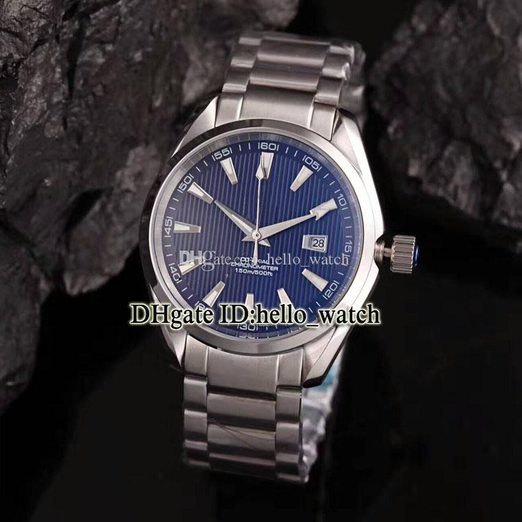 Yüksek kaliteli 007 Aqua Terra 150m James Bond Co-Axial 231.10.42.21.01.004 Mavi Arama Otomatik Erkek İzle SS Band Hediye Kutusu ile SS Band