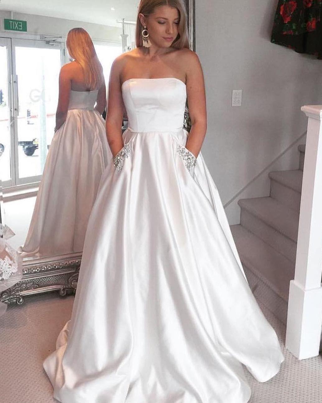 Strapless A Line Satin White Prom Dresses Sparkle Beaded