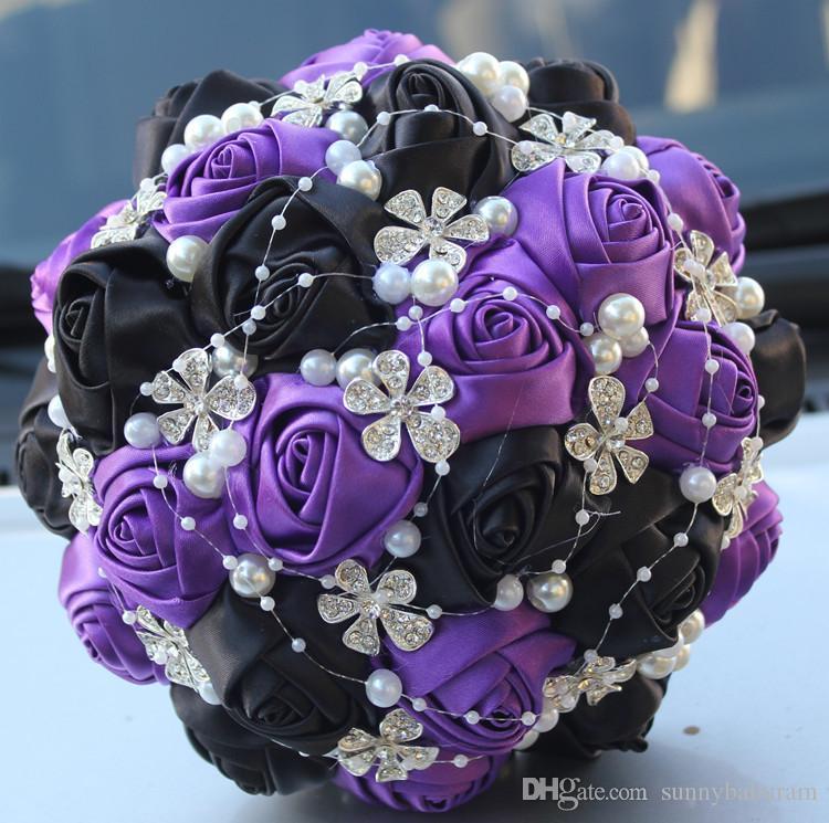 purple and black wedding bridal bouquets wedding supplies artificial rh dhgate com