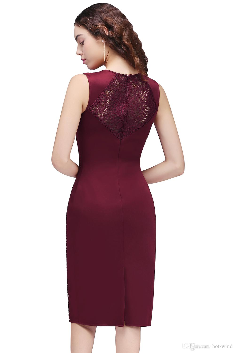 Elegant Burgundy Sheath Knee Length Short Prom Dresses 2020 New Arrival Lace Sleeveless Short Homecoming Dresses Formal Party Wear CPS681
