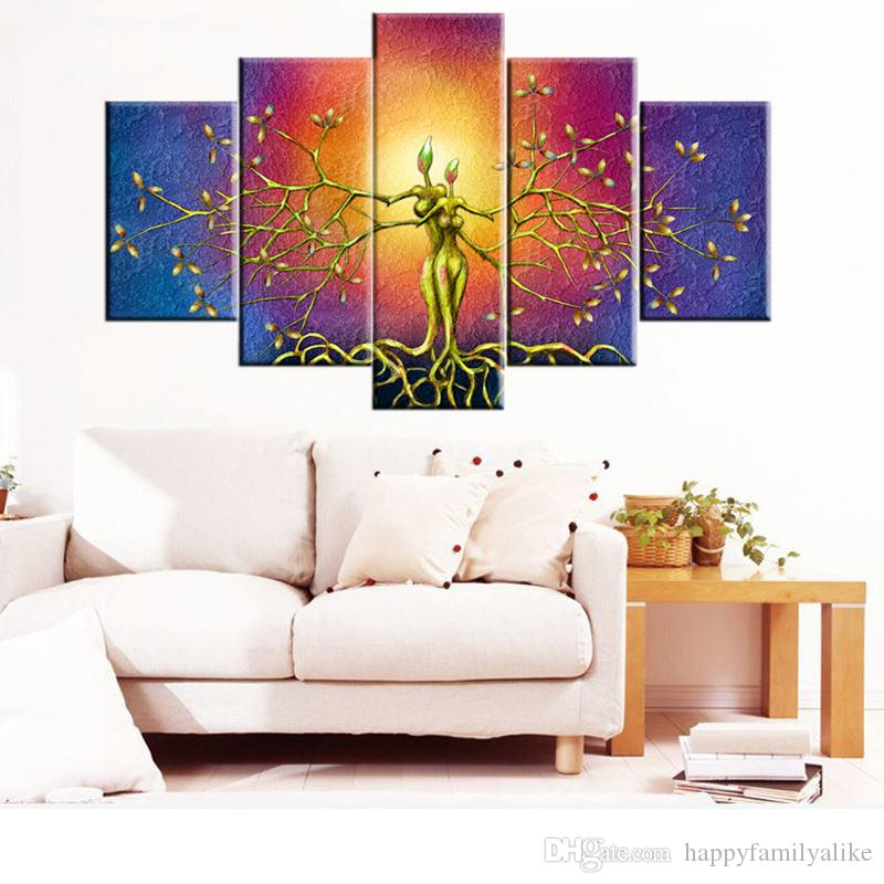 2018 Unframed 5 Panels Abstract Art Abstract Oil Painting High Quality  Canvas Art Beautiful Bedroom Living Room Wall Decoration From  Happyfamilyalike, ...