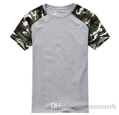 Fashion 2017 Casual Camouflage T-shirt for Men Cotton Army Tactical Combat Military Sport Camo Camp Mens T Shirts Tees