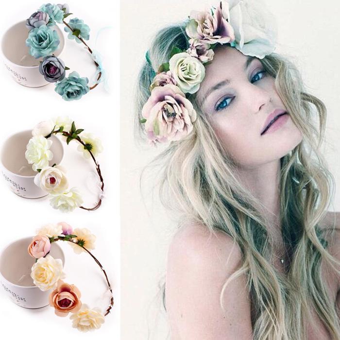 Fabric Flower Headbands For Woman Girls Bridal Wedding Flower Crown  Headband Forehead Hair Band Festival Flower Wreath Hair Accessories For  Babies Hair ... b2f11b57573