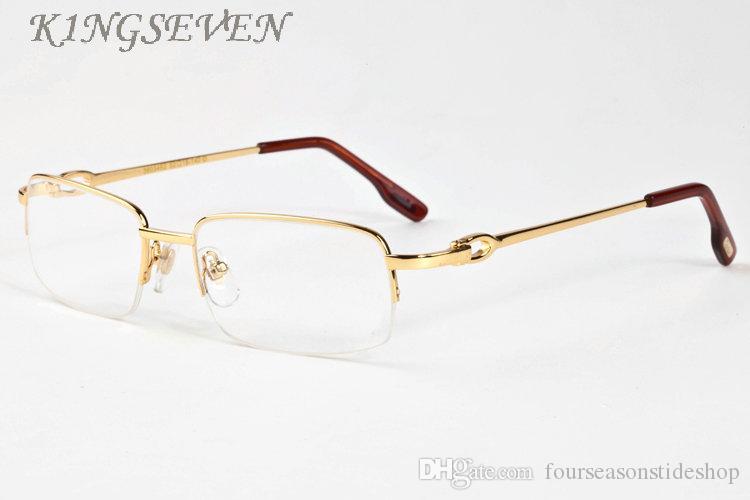 복고풍 물소 뿔 경우 oculos 드 졸와 망 무테 골드 실버 프레임 명확한 렌즈 안경 2020 여성 패션 선글라스 안경