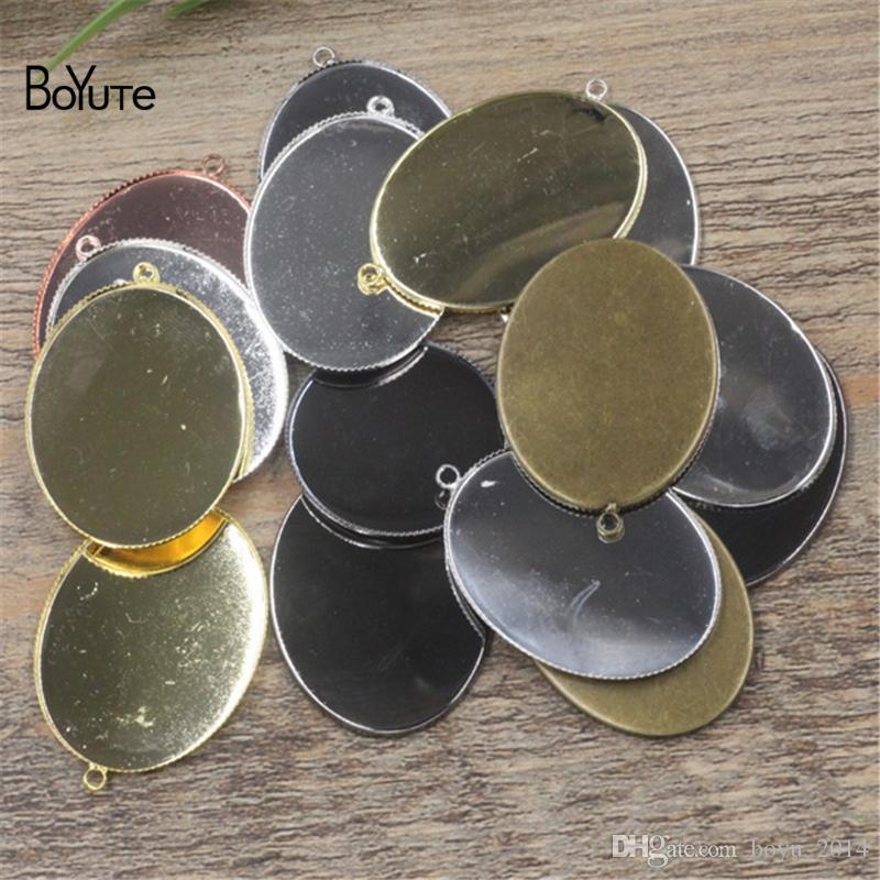 BoYuTe 30 * 40MM Oval Cabochon Base es plateados diy colgante de metal en blanco bandeja accesorios de la joyería
