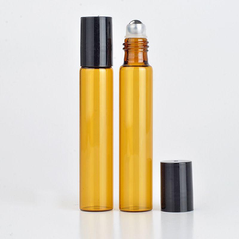 caldo Bottiglie di profumo Riutilizzabile Ambra 10ml ROLL ON fragranza PROFUMO BOTTIGLIE DI VETRO ESSENZIALE OLIO Bottiglia Acciaio Metallo Roller ball b702