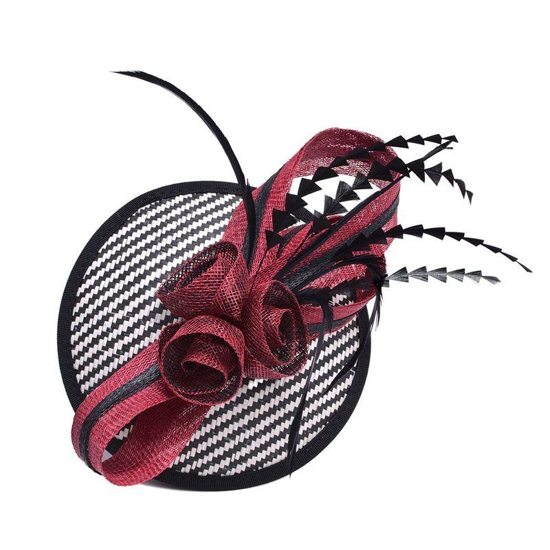 Kadın Sinamay Raffia Baz Fascinator Tüy Kokteyl Parti Şapka Düğün Kilisesi Elbise Kentucky Derby Bantlar T221