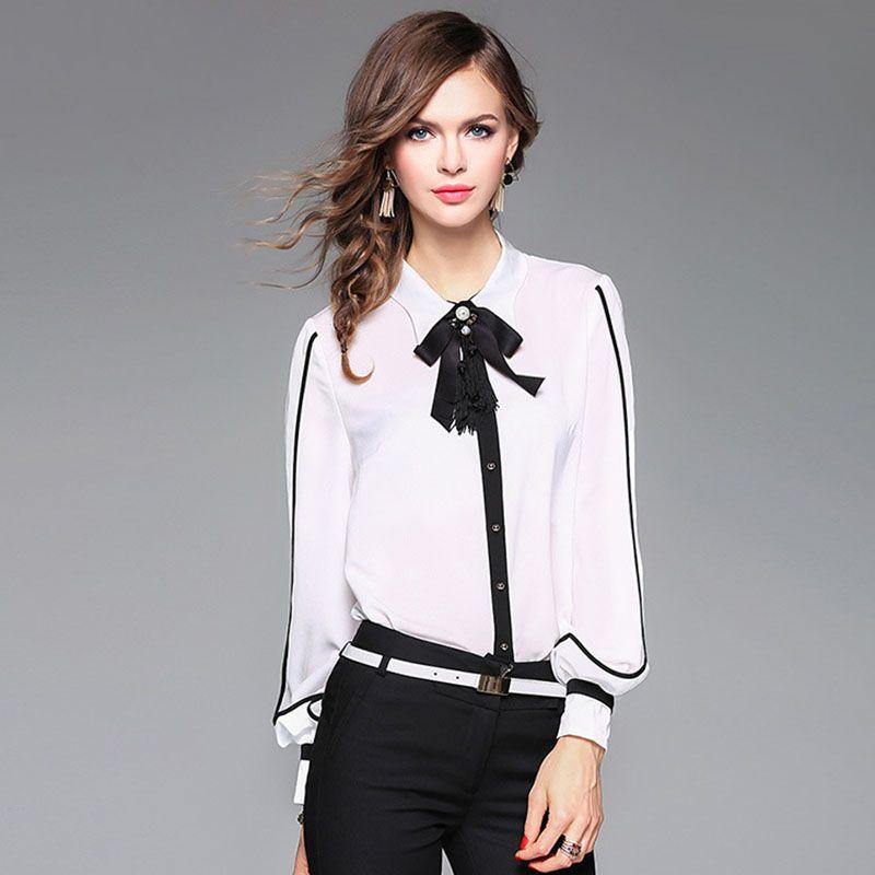 2018 Spring Runway Designer Silk Shirt Women'S High Quality Puff ...