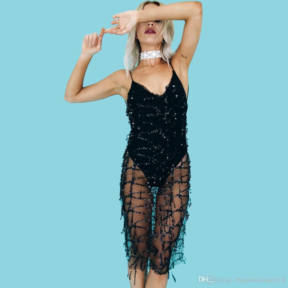 2018 Women Tassel Bodycon Black Club Dress 2017 Summer Style Fashion ...