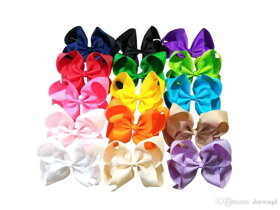 6 Inch Boutique Hair Accessory Knot Grosgrain Ribbon Hair Bow With Clip For Girl